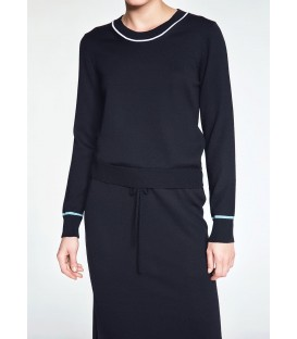 MERINO WOOL BLACK LONG KNIT DRESS