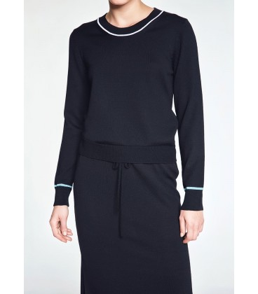 MERINO WOOL BLACK LONG KNIT DRESS