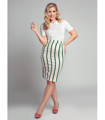 POLLY STRAWBERRY STRIPPED PENCIL SKIRT