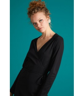 MANDY WRAP DRESS MILANO UNI BLACK